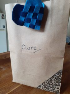 Brown paper bag with stars